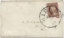 3 cent 1857 cover HIram Ohio double perforations at left! [1289]