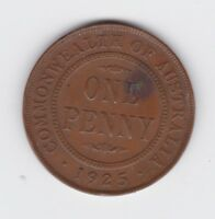 1925 George V Scarce Key Date One Penny Coin Commonwealth of Australia Q-56