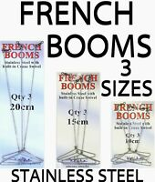 SEA FISHING TACKLE QUALITY STAINLESS STEEL FRENCH BOOMS -BUILT IN SWIVEL 3 SIZES