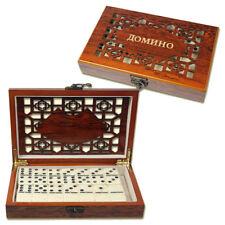 Domino Spiel in einer schön verzierten Holz Box 20x12x4 cm Super als Geschenk