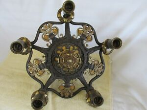 Art Deco Art Nouveau Chandelier Brass 5 Light