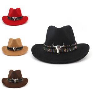 Cowboy Hat Stetson Style Fedora 100%Wool Sun Summer Western Riding Wide Br L_M