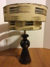 1950s Vintage Table Lamp w/ Tiered Fiberglass Shade Black Gold Stars Mid-Century