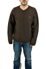 Timberland Wheatergear Dark Brown Jumper Wool V neck Knit Sweater Casuals 90s M
