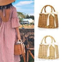 Ladies Handmade Solid Square Box Rattan Woven Bag Travel Straw Wicker Basket Bag
