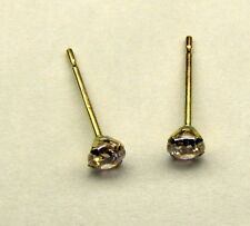 Adorable 10K Yellow Gold Tiny 3mm Round Light Pink CZ Studs Earrings Childs NEW