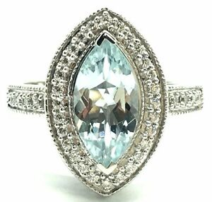 Sterling Silver Solitaire Marquise Aquamarine CZ Halo Pave Band Cocktail Ring