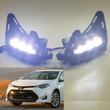 Built-in LED DRL Fog Light For 2017-2018 Toyota Corolla L LE XLE w/ Switch Bezel