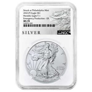 Presale - 2021 (P) $1 American Silver Eagle NGC MS70 Emergency Production ALS ER