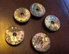 RARE ANTIQUE VICTORIAN SHELL SILVER ABALONE CARVED PIQUE BUTTONS! EXCEPTIONAL!