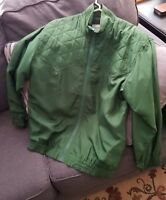 TEAM EFFORT ladies Oleg Cassini Size M Green Silk Zip Up Lightweight Jacket