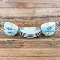 Set 4 Vintage Lusterware Porcelain Tea Cups & Saucers Japan Blue Floral LaVon