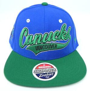 VANCOUVER CANUCKS NHL VINTAGE SCRIPT SNAPBACK FLAT BILL 2-TONE Z CAP HAT NEW!