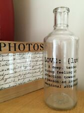 Florero bud Botella Vidrio Vintage Boda Decoración significado del amor palabras