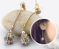 Sparkly Multi Coloured Czech 14k Gold Plated Long Drop Dangle Earrings Jewellery