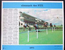CALENDRIER ALMANACH des PTT de 1971  COURSE CHEVAUX BATEAUX COMPETITION
