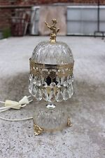 Vintage Hollywood Regency Mary Therese Glass Table Desk Lamp Golden Cherub Puti
