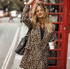 Zara Leopard Print Jacquard Coat Size S UK 10 Bnwt