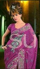 Bollywood Party Saree Designer Magenta Cocktail Dress