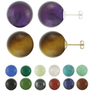 14K Solid White / Yellow Gold 8mm Round / Ball Natural Gemstones Stud Earrings