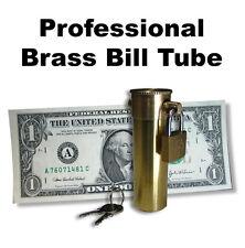 New Brass Bill Tube Make Dollar Disappear From Locked Tube Money Magic Trick