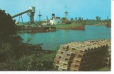 Harbor at Pugwash Nova Scotia Freighter & Lobster Traps Postcard 1950s