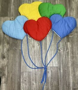 Vintage 1985 Nursery Wall Décor Quilted Pillow Heart Balloons Primary Colors