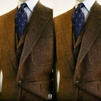 Men's Brown Wool Blend Herringbone Vintage Tweed Suit Blazer Retro Tuxedo Suit