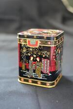 Vintage Asian Inspired TEA Tin Canister Spice Hinged lid