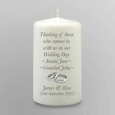 Absence Personalised Wedding Memorial Candle Gift Keepsake In Loving Memory
