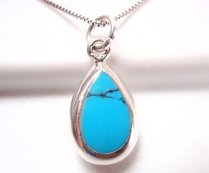 Reversible Blue Turquoise Mother of Pearl 925 Sterling Silver Teardrop Pendant