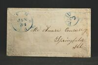 New Hampshire: Lyme 1853 Stampless Cover, Blue CDS, Circled PAID 3