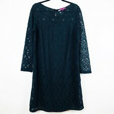 Jessica London Womens Dress Size 18 Long Sleeve Black Lace Cotton Blend 28