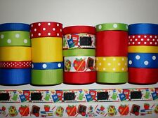 "23 YDS GROSGRAIN RIBBON MIXED LOT  ""Back To School"" PRINTED. RF21"