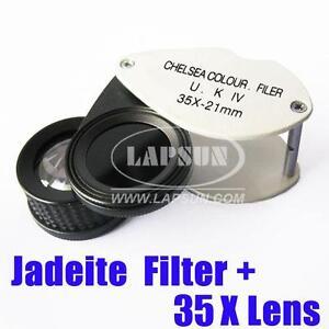 2 in 1 Chelsea Jadeite Filter Gemstone Gem Test Tester 35X Magnifier Loupe Lens