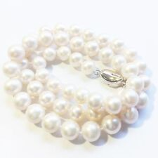 AAA Pearl Genuine 8-9 mm White Round Necklace Solid Sterling Silver Clasp 16""