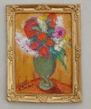 Dollhouse Miniature Floral Oil Painting Gilt French Frame Artisan R Tripoli