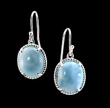 Stunning Larimar Natural 10X12m Oval Earnings .925 Sterling Silver New Style