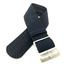 20mm Navy Braided Nylon Perlon watch Strap w/i Steel Ladder Lock Slider Buckle