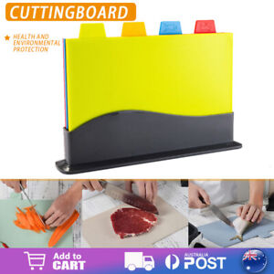 Coloured Chopping Board Set Cutting Boards Non-slip Index With Stand Holder