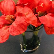 "Red Amaryllis Blooms & Buds in Glass Vase Realistic Looking Arrangement 8"" tall"