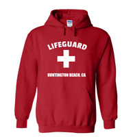 Red Huntington Beach Lifeguard Hoodie Surf City Pull Over Hooded Sweatshirt