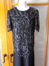 Black 2-Piece Gown with Silk Beaded Top - Size XS