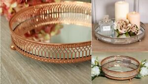 Copper Mirror Based Glass Candle Plate Tealight Candle Tray Round 20cm & 28 CM