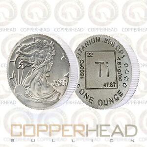 1 oz .996 Fine Titanium Round Walking Liberty Front / Element Reverse Coin