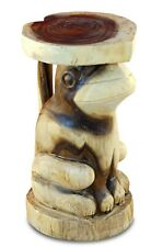 Side Table Solid Wood Carved Sculpture Frog Podium Flowers Stand Wood