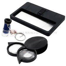Pocket Illuminated Magnifier Set  Flipout Loupe Lighted Magnifying Microscope