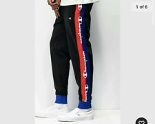 Champion Track Pants Side Logo Taping Black Red Blue White Men's Medium NWT
