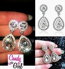 Sparkly Silver Teardrop Crystal Rhinestone Diamante Drop Dangle Earrings