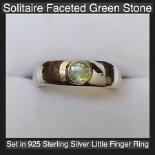 Solitair Faceted Green Stone Set In a Taxco  Sterling Silver Little Finger Ring